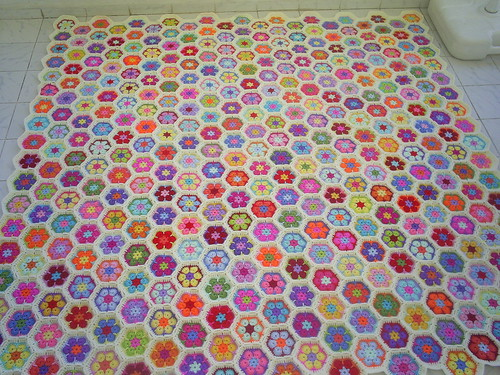 crochet african flower hexagon motif blanket