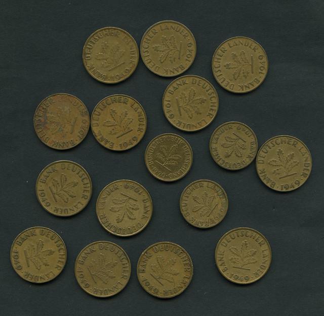 Bank Deutscher Länder 1949, 10 Pfennig Münze, 5-Pfennig Münze