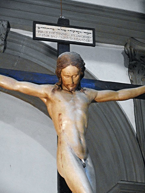 Wooden crucified Christ (1493-1494) by Michelangelo (Caprese 1475-Rome 1564) - Santo Spirito Church in Florence