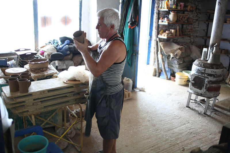 A Potter in his workshop in Thassos