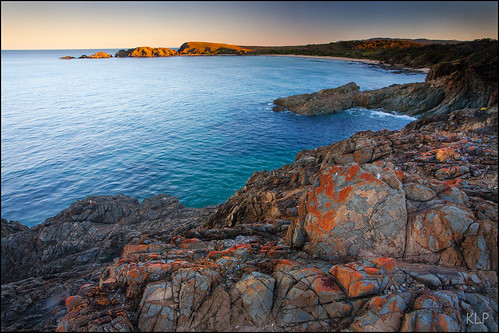 ocean new sunset red beach rock wales canon evening coast rocks harbour south tripod australia shore nsw lookatme newsouthwales 5d coastline lichen geology emerald 1740mm headland coffs polariser gndfilter