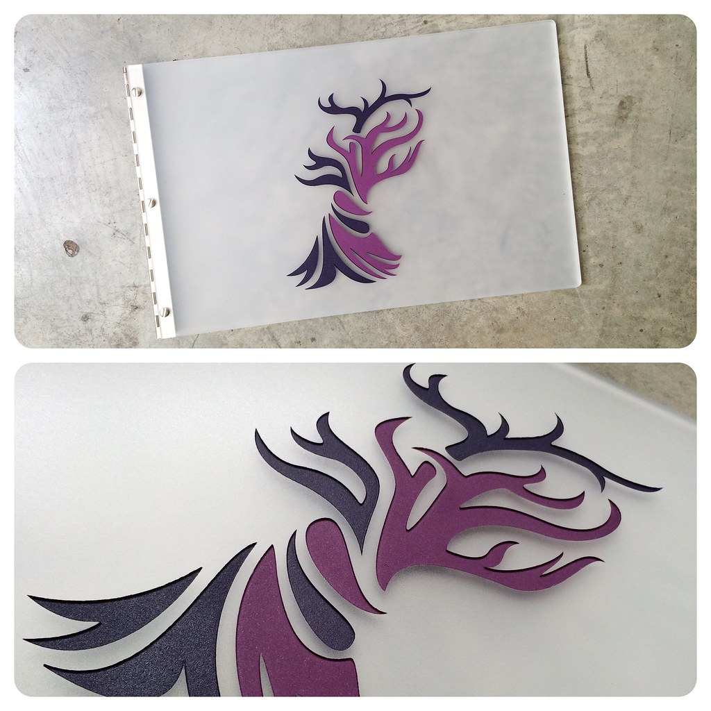Custom graphic design portfolio book with engraved color f