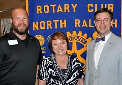 L-R: Program Director Mike Wienold, Angela Jamison and Club President Chris Morgan.