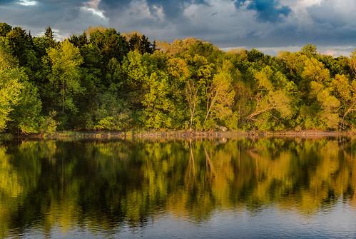 trees sunset sky reflection minnesota clouds river us spring unitedstates mississippiriver monticello goldenhour biglake ellisonpark
