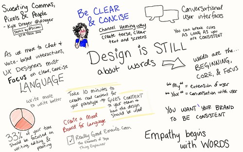 Sweating Commas, Pixels, and People @dreger @stirtrek #sketchnotes #stirtrek | by Siriomi