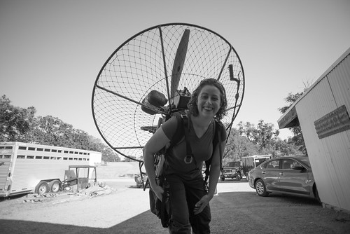Tara's First Time Wearing a BlackHawk 125 Paramotor   by goingslowly