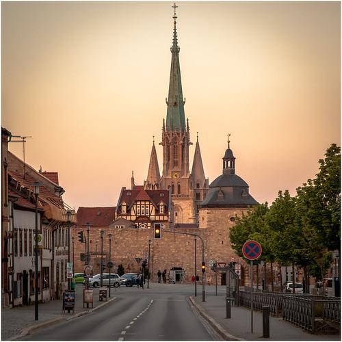 city sunset green church germany deutschland evening thüringen spring sonnenuntergang kirche thuringia oldtown mühlhausen abends ef24105mmf4lisusm canoneos5dmarkii thomasmüntzerstadt