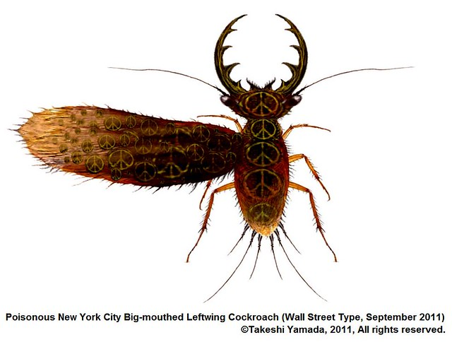 Poisonous NYC Big-mothed Cockroach (Wall Street Type, which occupied there in September 2011).   ©Takeshi Yamada. 2013. rogue taxidermy art