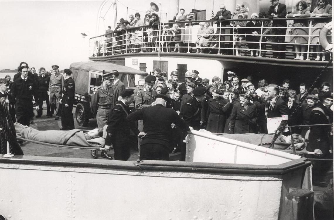 A 'casualty' being loaded onto the Humber ferry 28 May 1961 (archive ref CD-103) (22)