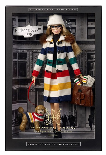 She is here and dressed in Stripes! Wearing an HBC striped coat and matching pencil skirt, Barbie is dressed for success. Look out for her in-store and online October 5th! #Stripespotting #HBxBarbie