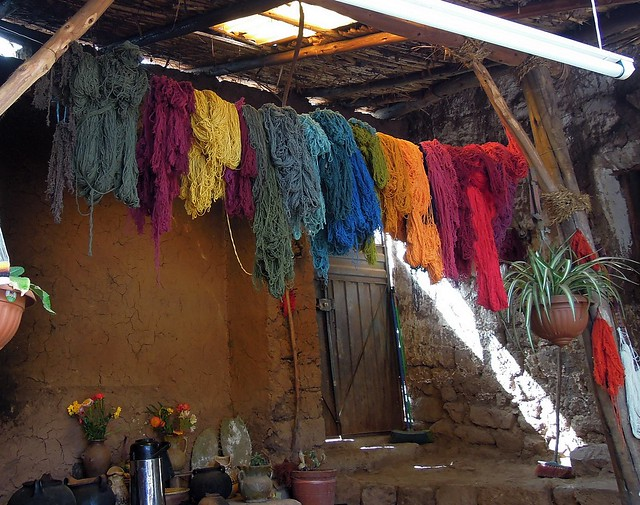 Peru (Cusco) Llama (alpaca) wool skeins naturally dyed with plant materials