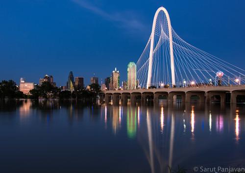 park bridge sunset reflection river