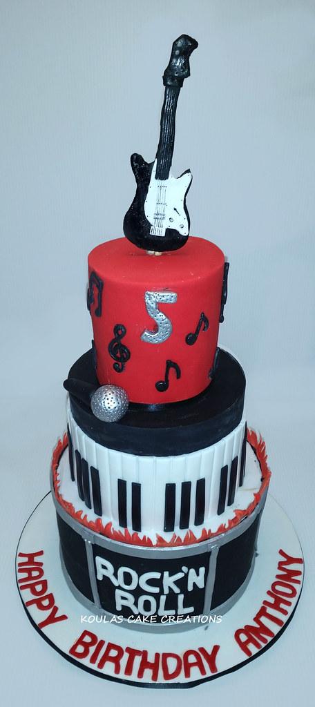 Brilliant Rock And Roll Birthday Cake Koula Kakopieros Flickr Personalised Birthday Cards Akebfashionlily Jamesorg
