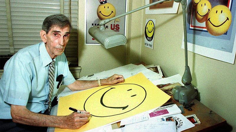 nursary: elevenacres: Harvey Ball- creator of The Smiley Face he looks like hes seen the devil with his own two eyes! good for him