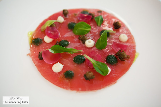 Big eye tuna crudo, nettle pesto, parsley root, fried capers, pickled red onions