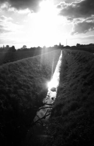 light sunset bw film rollei ditch olympus xa2 fens 400s compactcamera firstcall agfagevaert