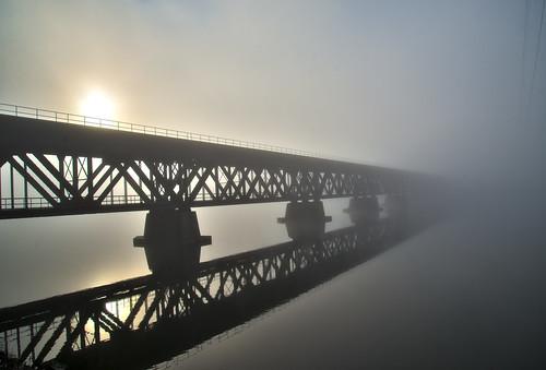 railroad morning bridge mist fog sunrise river hudson