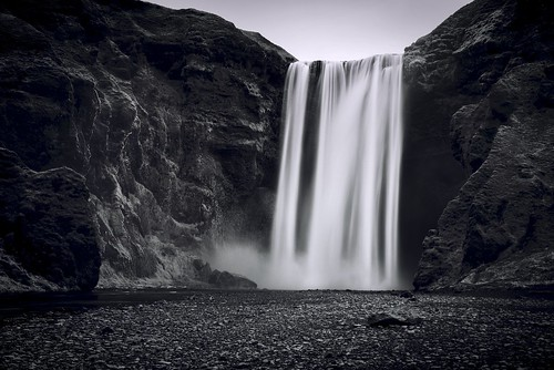 longexposure white black nature water landscape waterfall iceland rocks europe day clear nordic skogafoss luishenriqueboucault