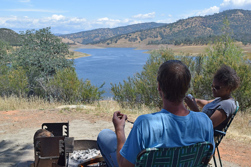 Roasting marshmallows, enjoying view of New Hogan Lake