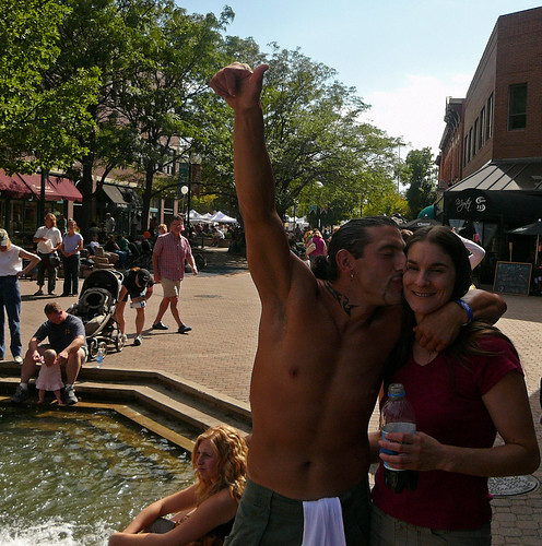 After his triumphant air guitar performance to The Piggies, Old Town, Fort Collins, New West Fest 2006   by Paul L Dineen