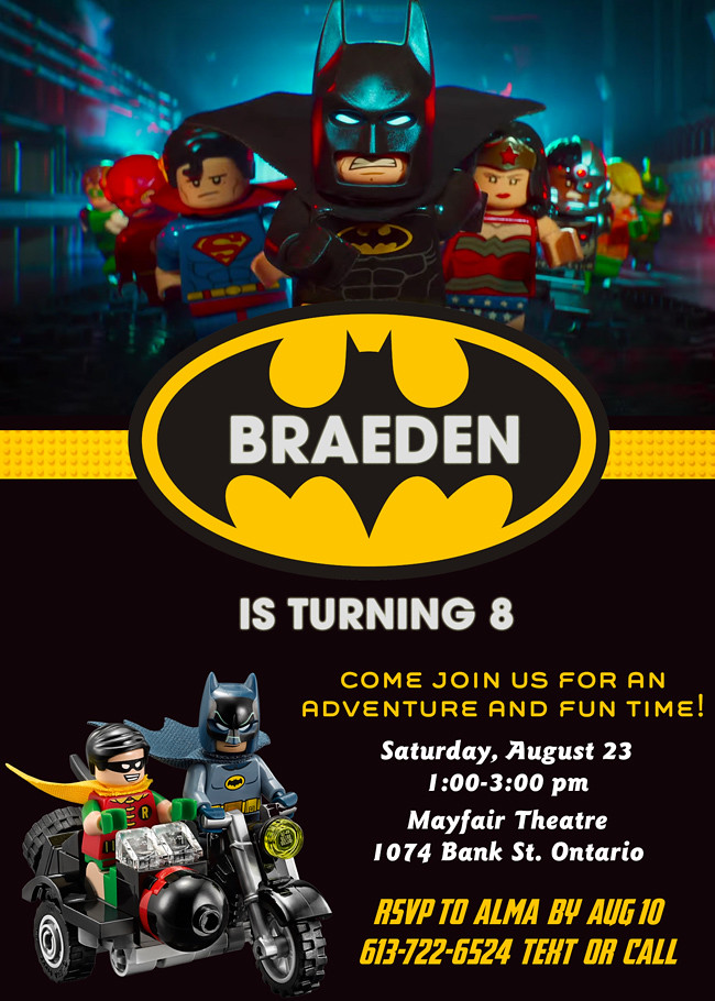 Lego Batman Custom Birthday Invitation Contact Me Hunnyb Flickr