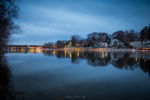 bluehour carpentersvill foxriver illinois kanecounty longexposure night peaceful reflection water waterfront riverbank riverfront