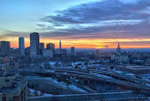 clouds sky cityscape building landscape sun sunset sunrise hartfordct downtown city connecticut hartford