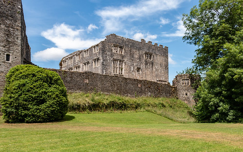 berrypomeroy castle devon fort mansion ruins curtainwall tower tree grass sky landscape building architecture ancient