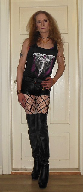 #restingbitchface #posing #tgirl #happytgirl #transisbeautiful #transvestite #blondeshavemorefun #realscandinavianblonde #hotpants #shorts #shortshorts #pantyhose #tights #glossytights #fishnets #layered #layeredtights #layerednylon #boots #highheels #thi