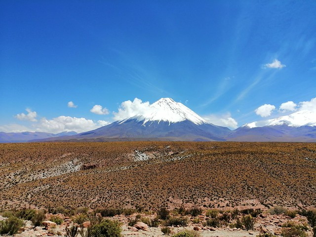 The Licancabur and the Juriques Volcanoes, the Atacama Desert at 2,407 m (7,900 ft), Chile/Bolivia.
