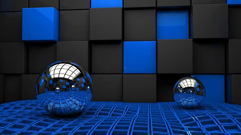 Обои шары, стена, металл, кубы, пространство картинки на рабочий стол, фото скачать бесплатно