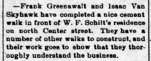 1900 - Schilt installs sidewalk - Enquirer - 29 Jun 1900 | by historic.bremen