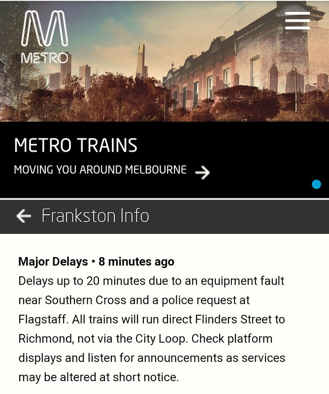 Metro alert 18/2/2019: Frankston trains bypassing the City Loop