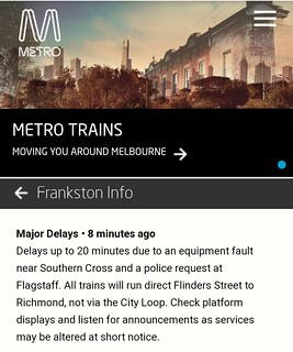 Metro alert 18/2/2019: Frankston trains bypassing the City Loop | by Daniel Bowen
