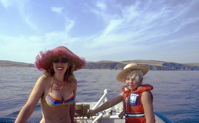 M + A boating off Mevagissey, Aug90
