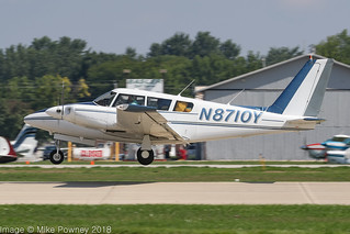 N8710Y - 1969 build Piper PA-30-160 Twin Comanche, arriving on Runway 27 at Oshkosh during Airventure 2018