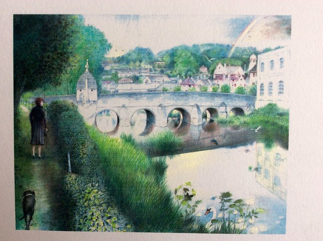Bradford on Avon Wiltshire, coloured pencil drawing by jmsw on white card