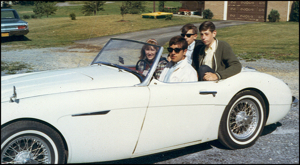 Old Pic - Me and Betty in the Healey - 1966