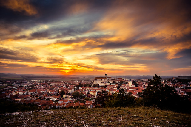 Colorful autumn Sunset over the Mikulov city, Moravia, Czech Rep