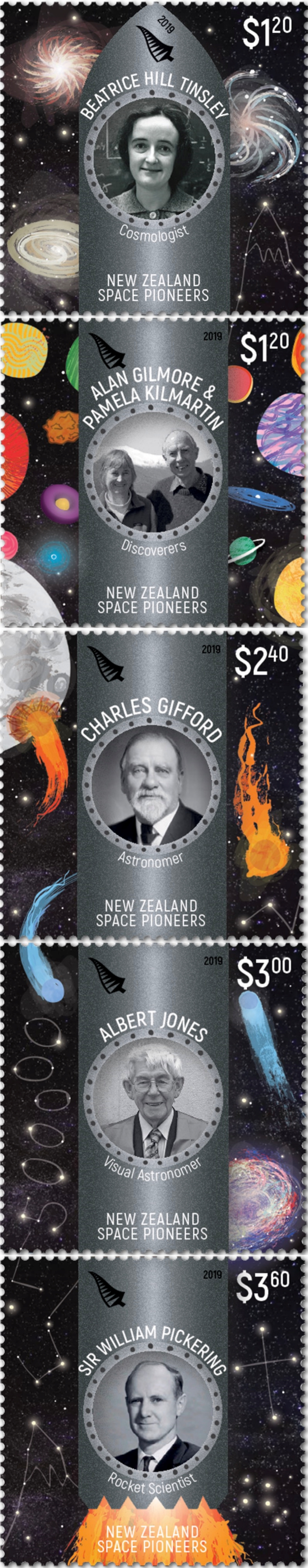 New Zealand - Space Pioneers (May 1, 2019) se-tenant strip of 5