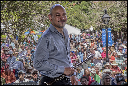 Evan Christopher on Day 1 of French Quarter Fest - 4.11.19. Photo by Marc PoKempner.