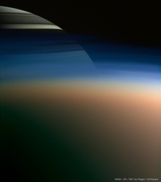 Saturn through Titan's haze