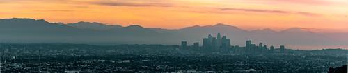 red dtla sunrise morning los angeles panorama cityscape clouds orange california nikon d800 nikkor 200500mm layers