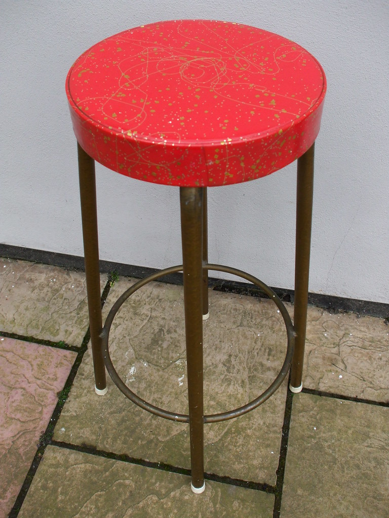 Prime Vintage Mid Century Modern Red Gold Nightclub Bar Stool Dailytribune Chair Design For Home Dailytribuneorg
