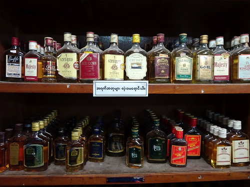 The (dusty) kinds of whiskey in Nyuangshwe, Myanmar