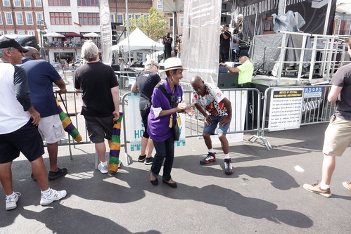 Dee Lindsey and Dancing Man 504 on Day 1 of French Quarter Fest - 4.11.19. Photo by Keith Hill.