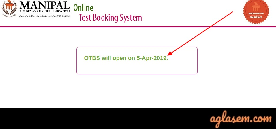Mu OET 2019 Slot Booking at Manipal OTBS