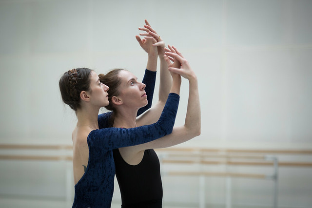 Hannah Grennell and Kristen McNally in rehearsal for New Work New Music, The Royal Ballet © 2018 ROH. Photograph by Alice Pennefather