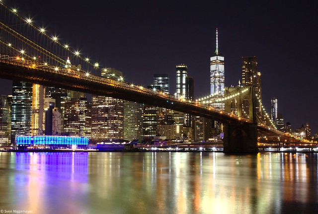 Brooklyn Bridge mit der Manhattan Skyline am Abend des 25.06.18