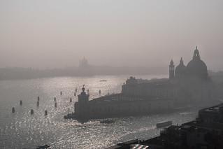 Basilica di Santa Maria della Salute in Venice, Italy under the mist.